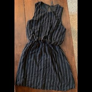 Final touch black dress with white stripes